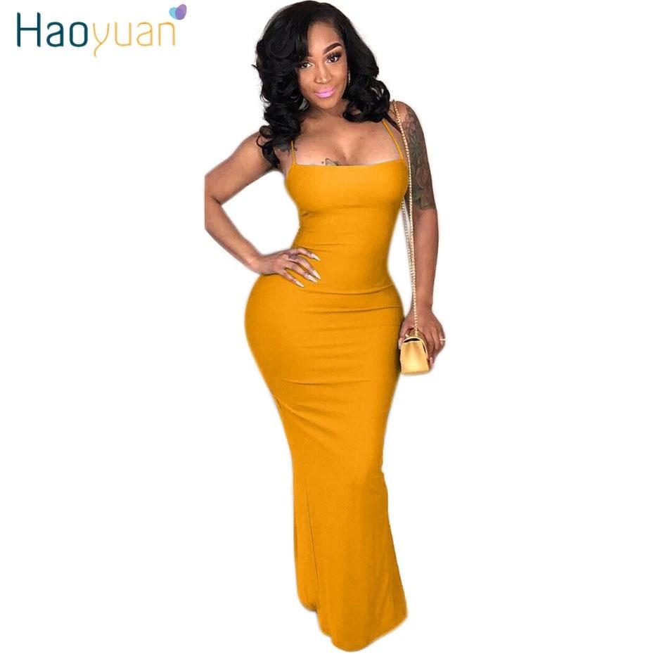 e5b82b547c4 HAOYUAN Plus Size Sexy Long Maxi Dress Elegant Backless