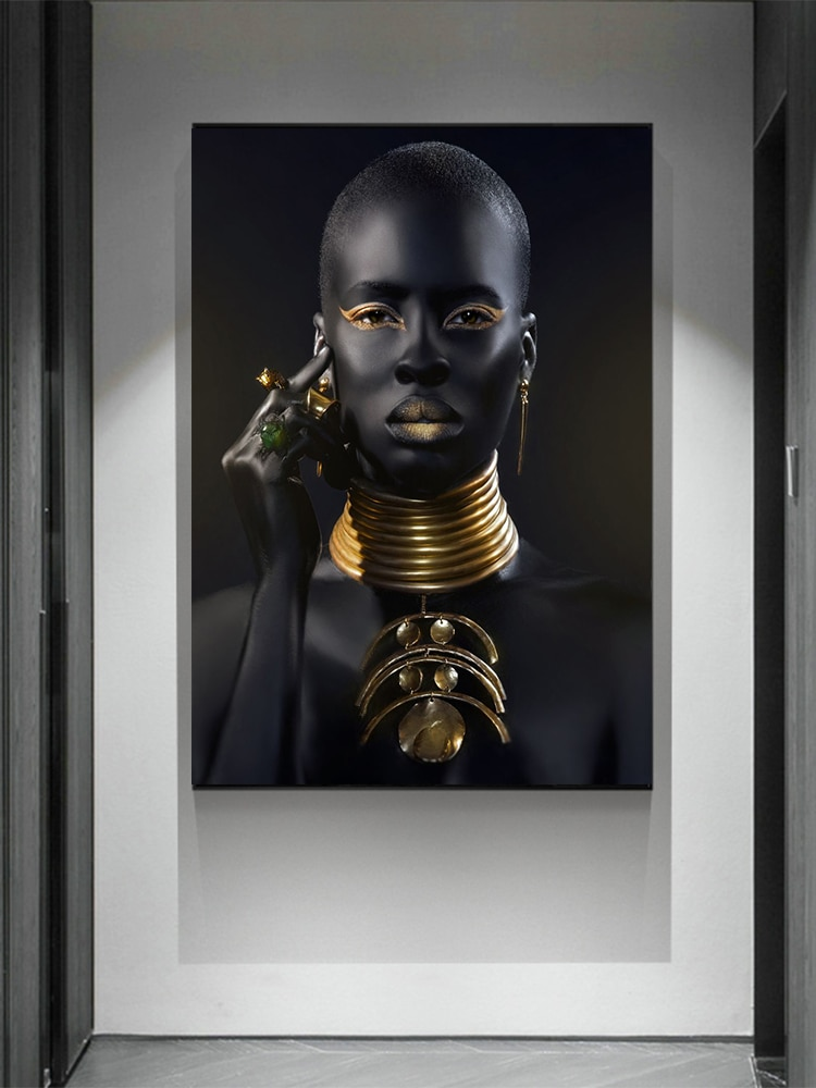 Black Hand and Gold Lip Nude African Woman Oil Painting on Canvas Cuadros Posters and Prints Wall Art Picture for Living Room
