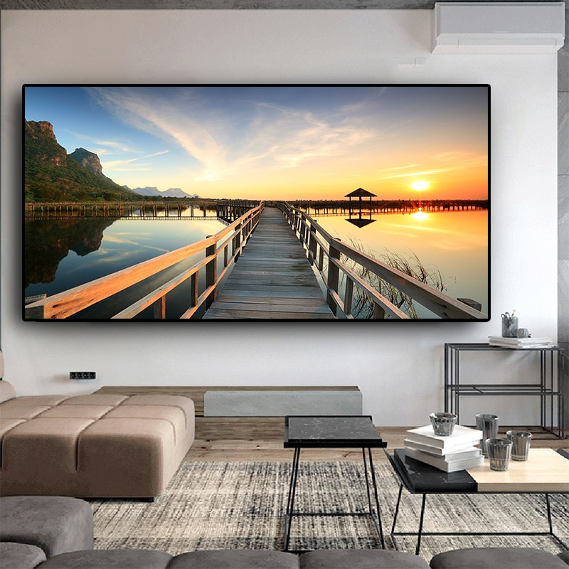Sunsets Bridge Wooden Lake Landscape Posters and Prints Canvas Painting Cuadros Scandinavian Wall Art Picture for Living Room