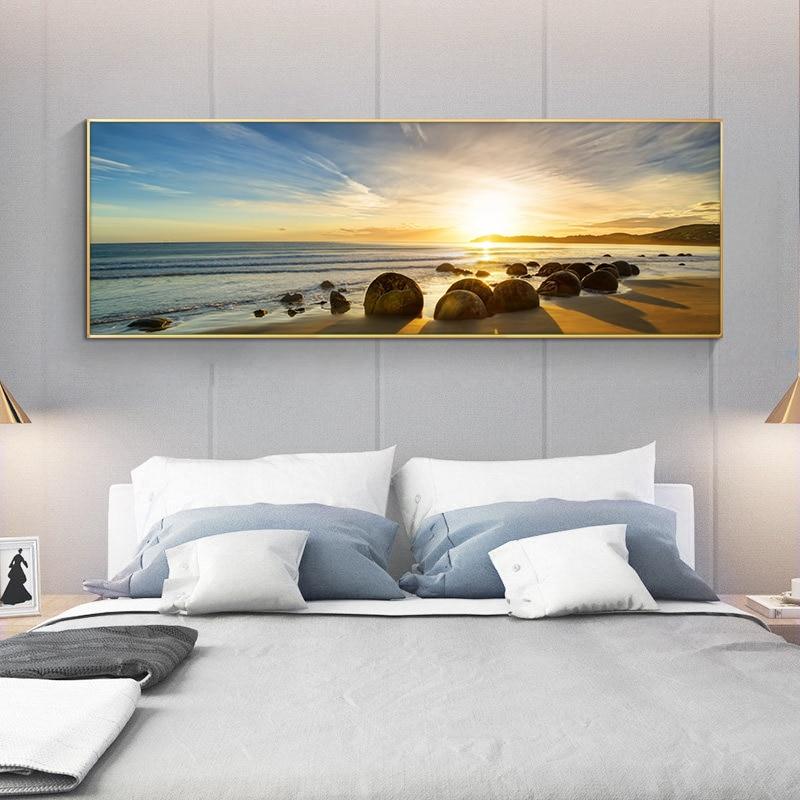 Natural Blue Sky Stone Beach Sunset Landscape Print