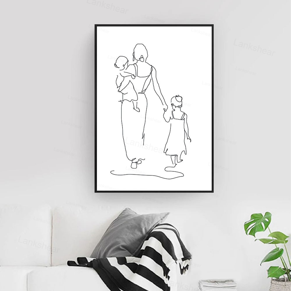 Mother And Daughters Son Abstract Wall Art