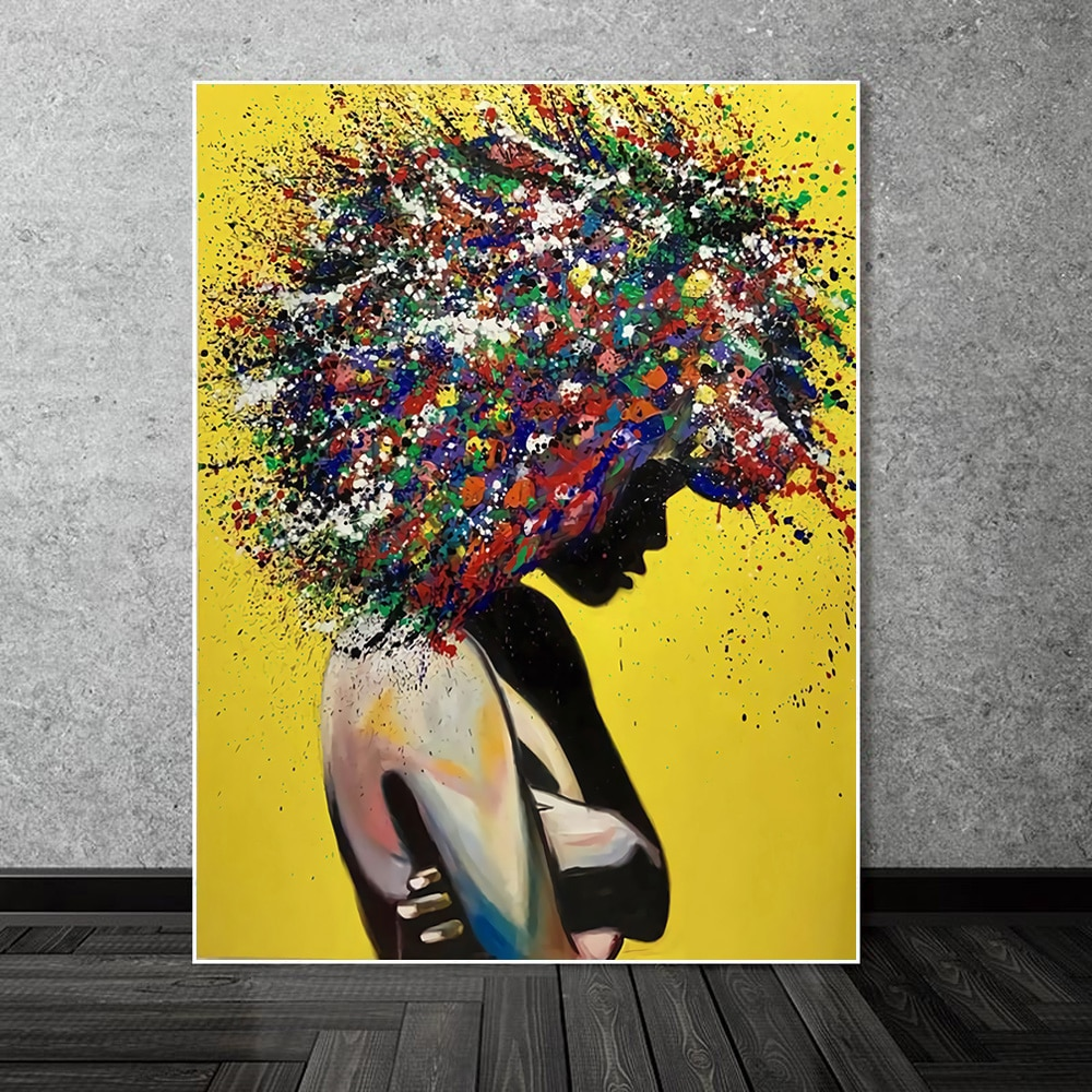 Abstract Figure Afro Art Colourful Hair African Women